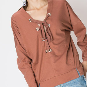 LANGLEY Lace up Grommet Casual Top